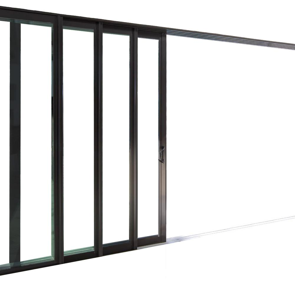 144 In X 84 In Rt Swing Inswing Black Aluminum Finished Multi Slide Double Prehung Patio Door W Aluminum Frame 102 Simnel The Home Depot In 2020 Patio Doors Sliding Patio Doors Double Sliding