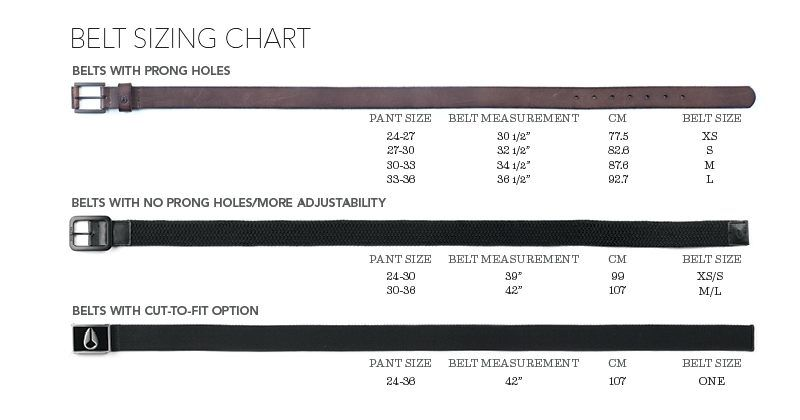 Perfect Size Chart To Right Of Belt For Men