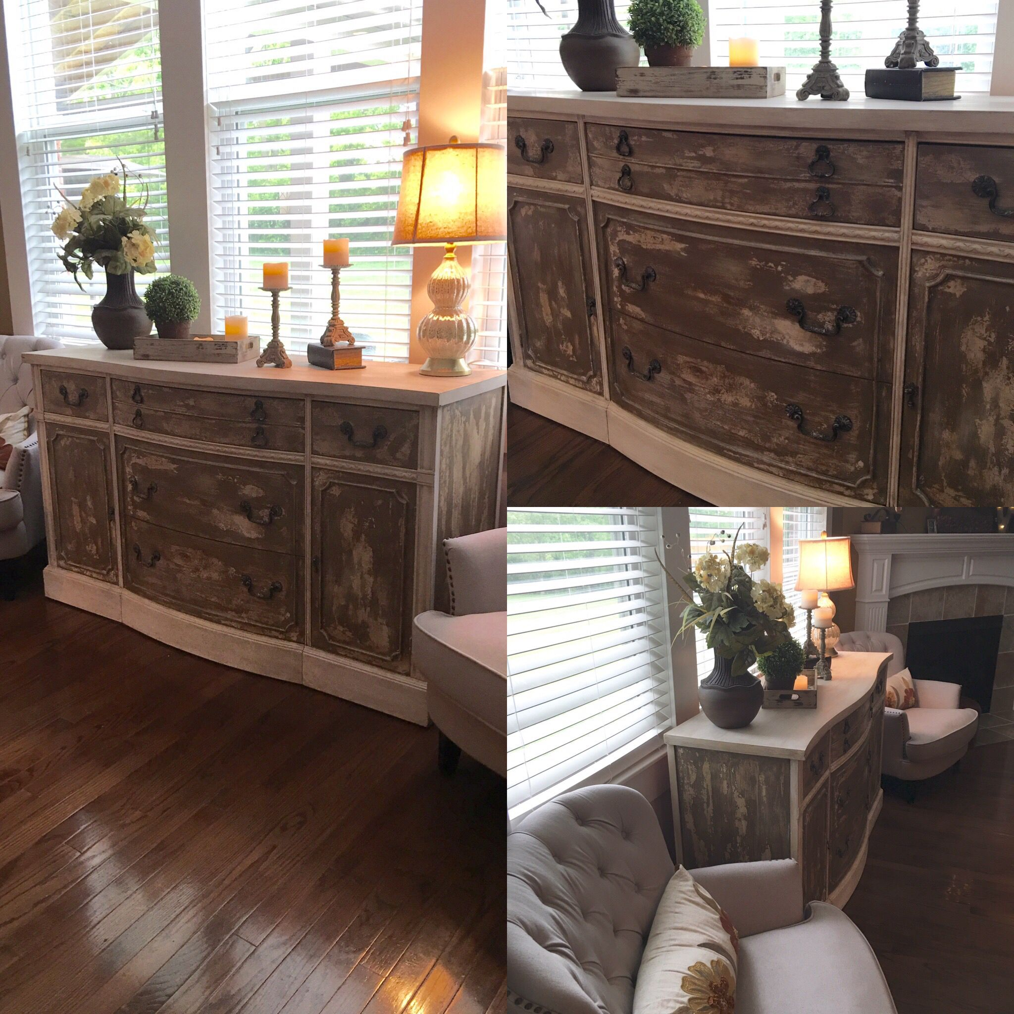 Body painted in Heirloom Traditions A la Mode. Moving parts painted in Annie Sloan Coco, highlights in Country Gray. Clear and dark wax. Hardware ages with white aging dust.  https://www.facebook.com/distressbydesign/
