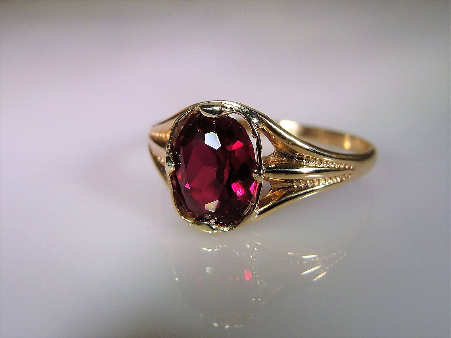 1930s 10k Ruby Ring Ruby Solitaire Ring Art Deco Ring Yellow Gold Ruby Ring Ruby Red Ring Bezel Set Ruby Ruby Solitaire Ring Ruby Ring Gold Art Deco Ring