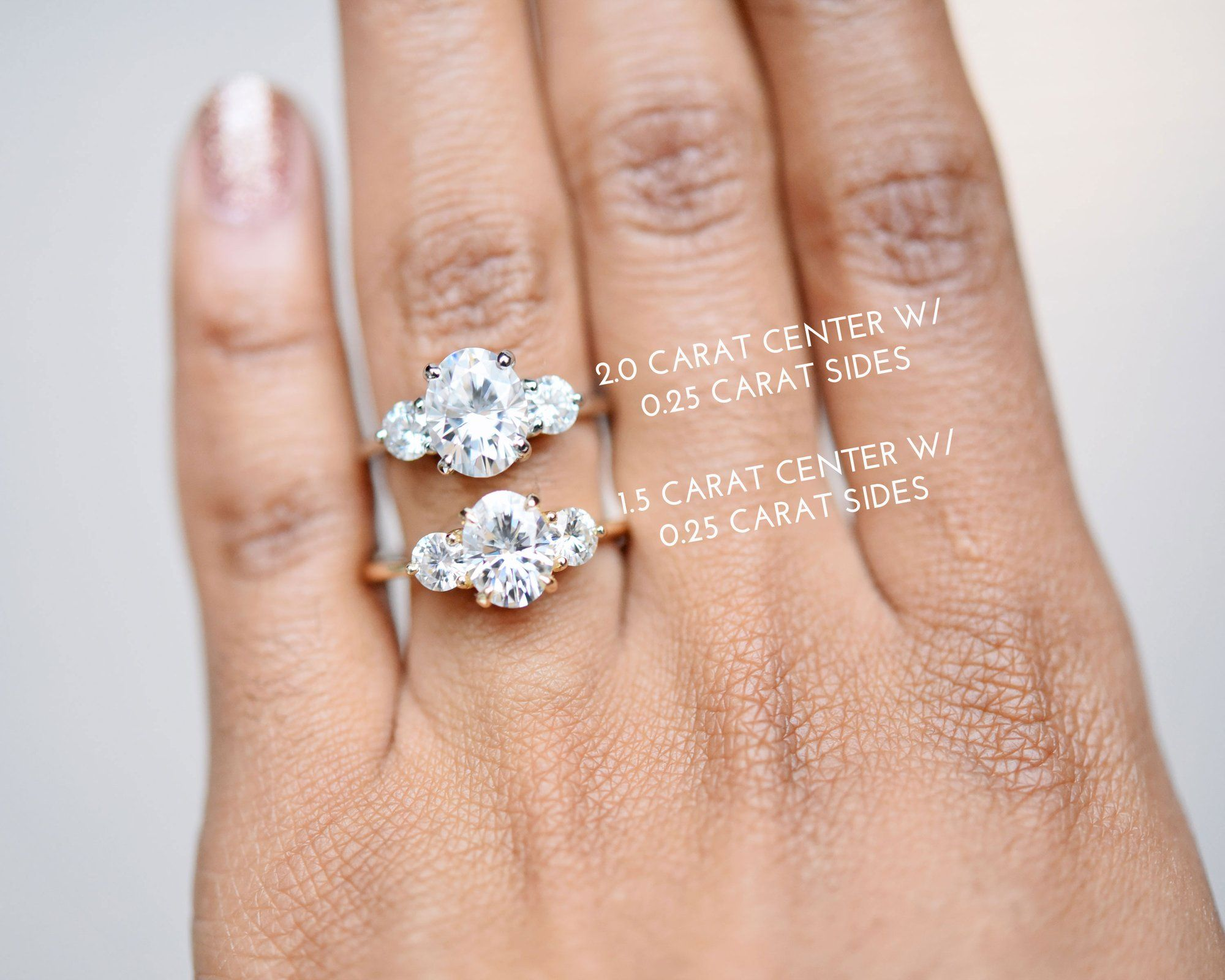 Zara Oval Three Stone Moissanite Engagement Ring Valeri In 2020 Three Stone Engagement Rings Oval Three Stone Diamond Rings Engagement Three Stone Diamond Engagement