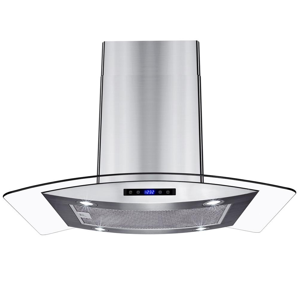 Akdy 36 In Kitchen Island Mount Range Hood In Stainless Steel With Tempered Glass Leds Touch Control And Carbon Filters Rh0418 The Home Depot Range Hood Kitchen Range Hood Glass Range Hood