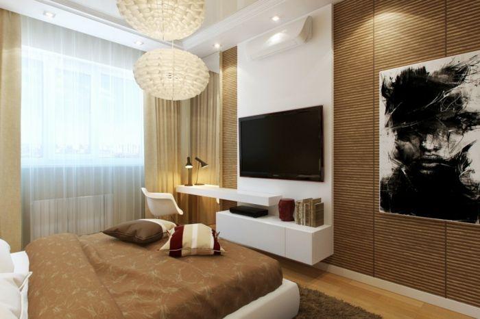 Fernseher Schlafzimmer ~ Schlaf gut tipps schlafzimmer wand bambus fernseher coole leuchter
