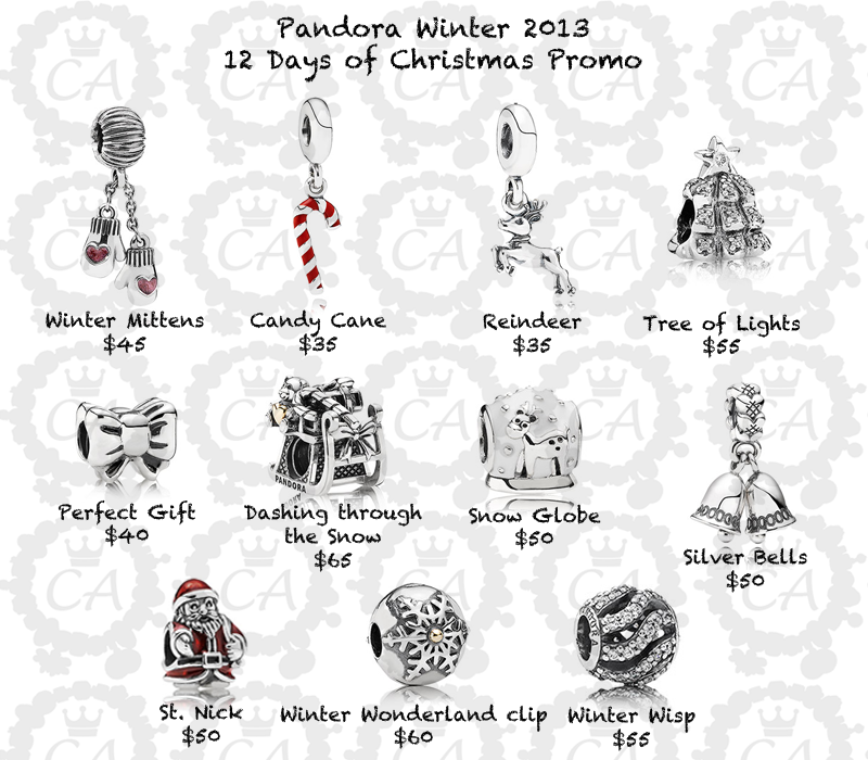 Pandora Winter 2013 Charm Collection 12 Days Of Christmas