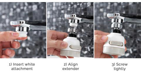 Kitchen Bathroom Water Saving Rotation Extended Shower Head Kitchen Taps Tap Head Faucet