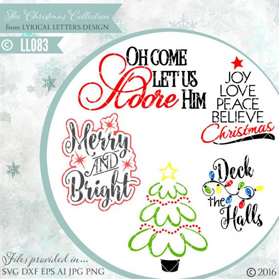 1c47f226419b3 Christmas Tree Deck the Halls Merry and Bright LL083 - SVG DXF Fcm ...