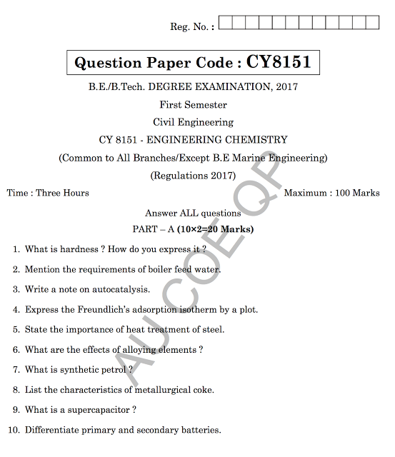 Cy Engineering Chemistry Question Papers New  Aunewsblog