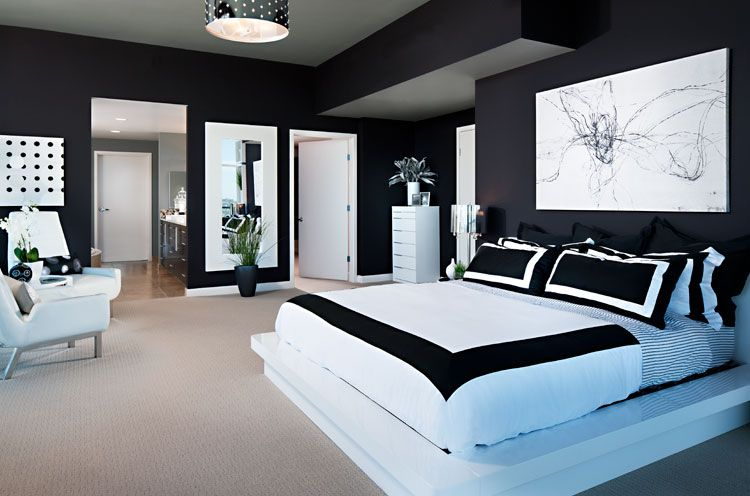 10 amazing black and white bedrooms bedrooms modern and for Simple bedroom designs for couples