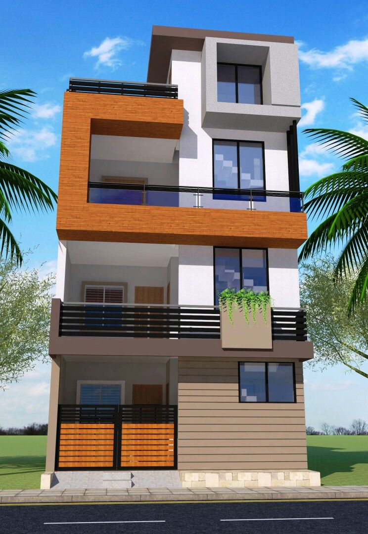 G+2 modern house elevation | modern house elevation in ...