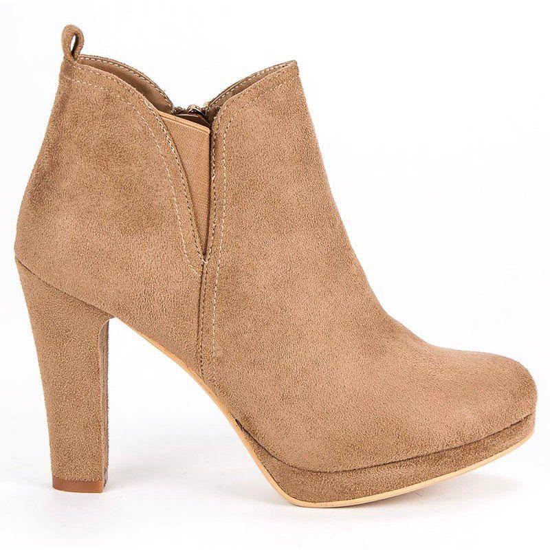 Botki Damskie Smallswan Brazowe Zamszowe Botki Na Obcasie Small Swan Ankle Boot Shoes Boots