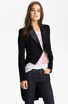 JUICY COUTURE Tuxedo Tail Convertible Coat Jacket Sz 8 NWT  398 Black OUCH!  But this is the look I hope to find for much less! a8f89eebd