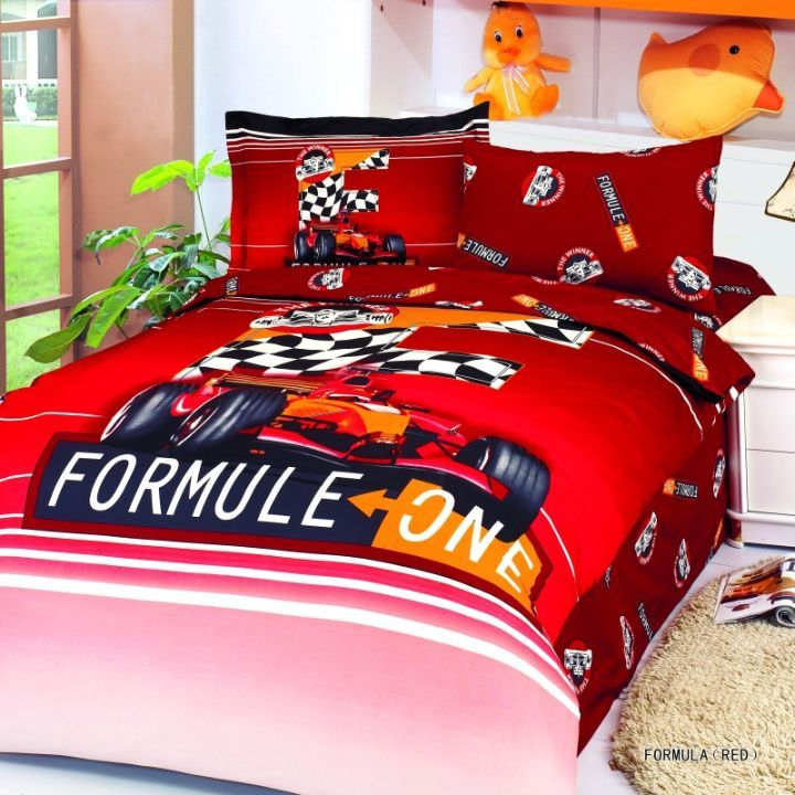 boys love this twin bed set with checkered flags powerful f1 cars bright colors