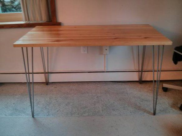 Hairpin Leg Desk Table With Raw Steel Legs Using Ikea Wood Tabletop