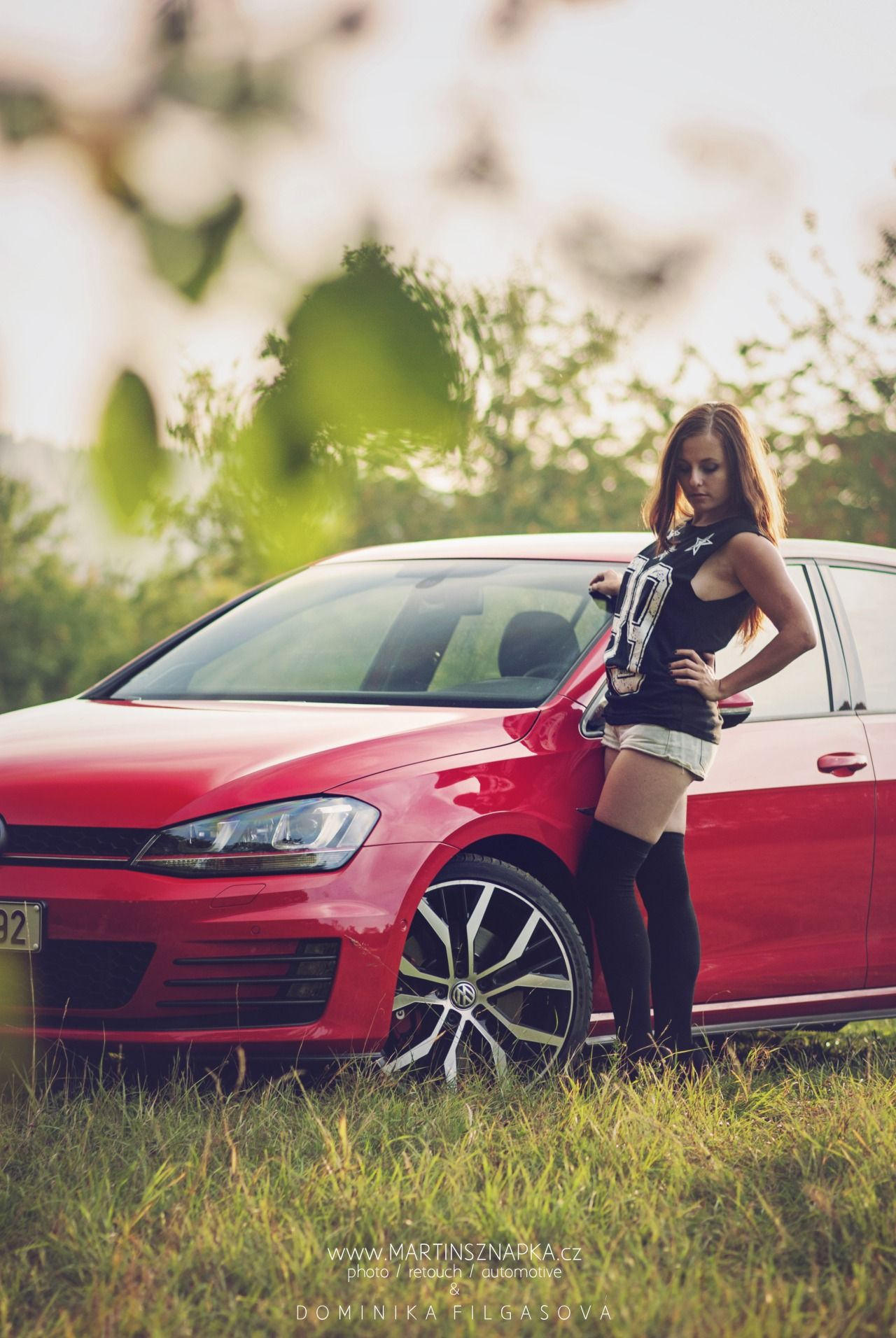 Volkswagen VW Golf 7 VII GTI Red sexy hot girl with sexy ...