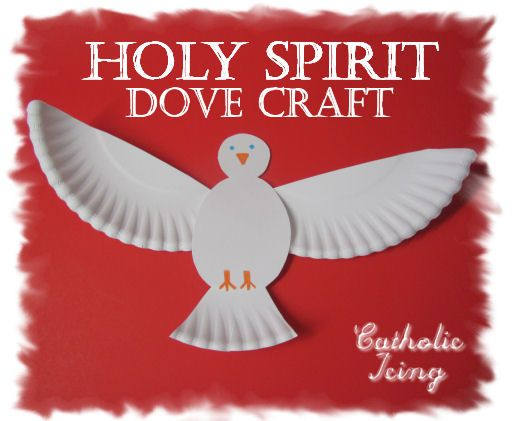 "Holy Spirit dove craft  This would have been a lot better than the ""stained glass"" activity we did. Also it's cooler."