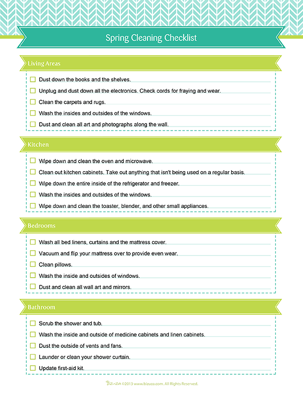Printable And Editable Spring Cleaning Checklist In Pdf Http