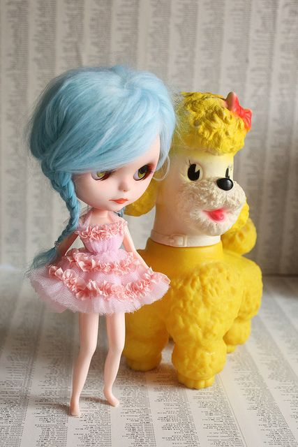 Lolita fell in LOVE with the yellow Poodle by mab graves
