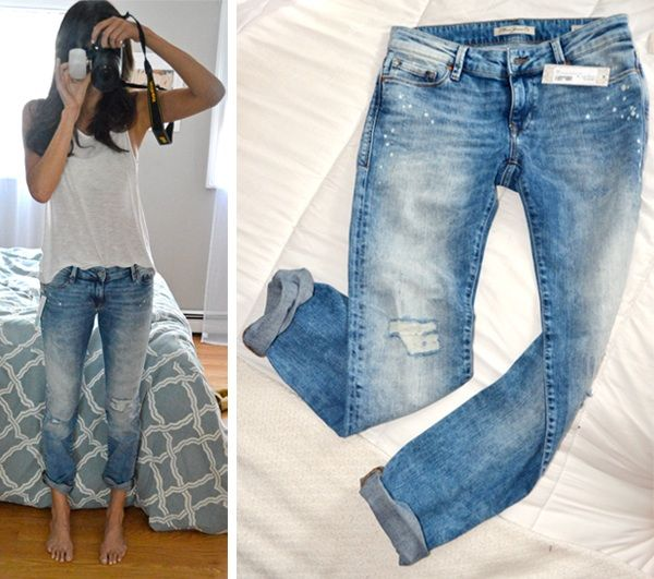 Distressed boyfriend jeans without too many rips and holes.m ...