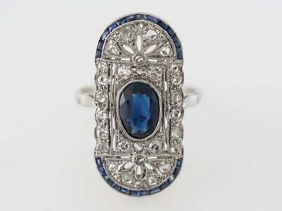 Details about Vintage Filigree Cocktail CZ & Art Deco Sapphire Fine Ring in 925 Solid Silver is part of Ring designs, Vintage cocktail ring, Cocktail rings, Right hand rings, Rings, Sapphire -