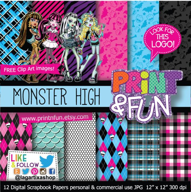 Monster High Digital Paper Patterns - Digital Papers and more! #digitalpaper #partyprintables #imprimibles #fondos #scrapbooking #fiestastematicas #fiestas #ideas #crafts #monsterhigh #lace #halloween