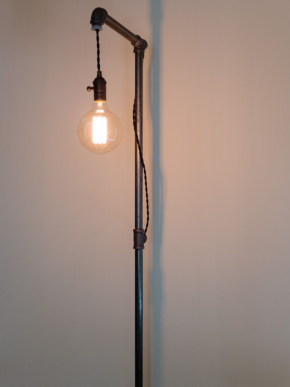 Handmade gas pipe floor lamp made by customer Greg in Los