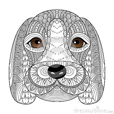 Beagle puppy line art for coloring book for adult, t-shirt design - new coloring pages beagle puppies
