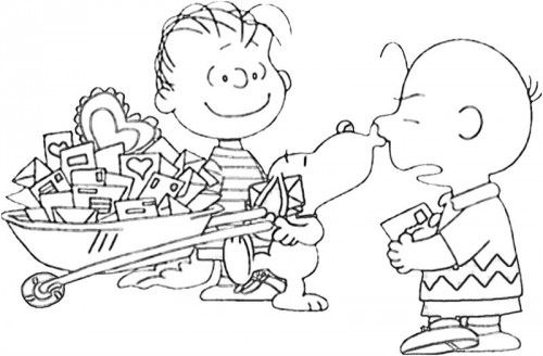 Printable Snoopy Cool Charlie Brown Mail Coloring Pages | valentines ...