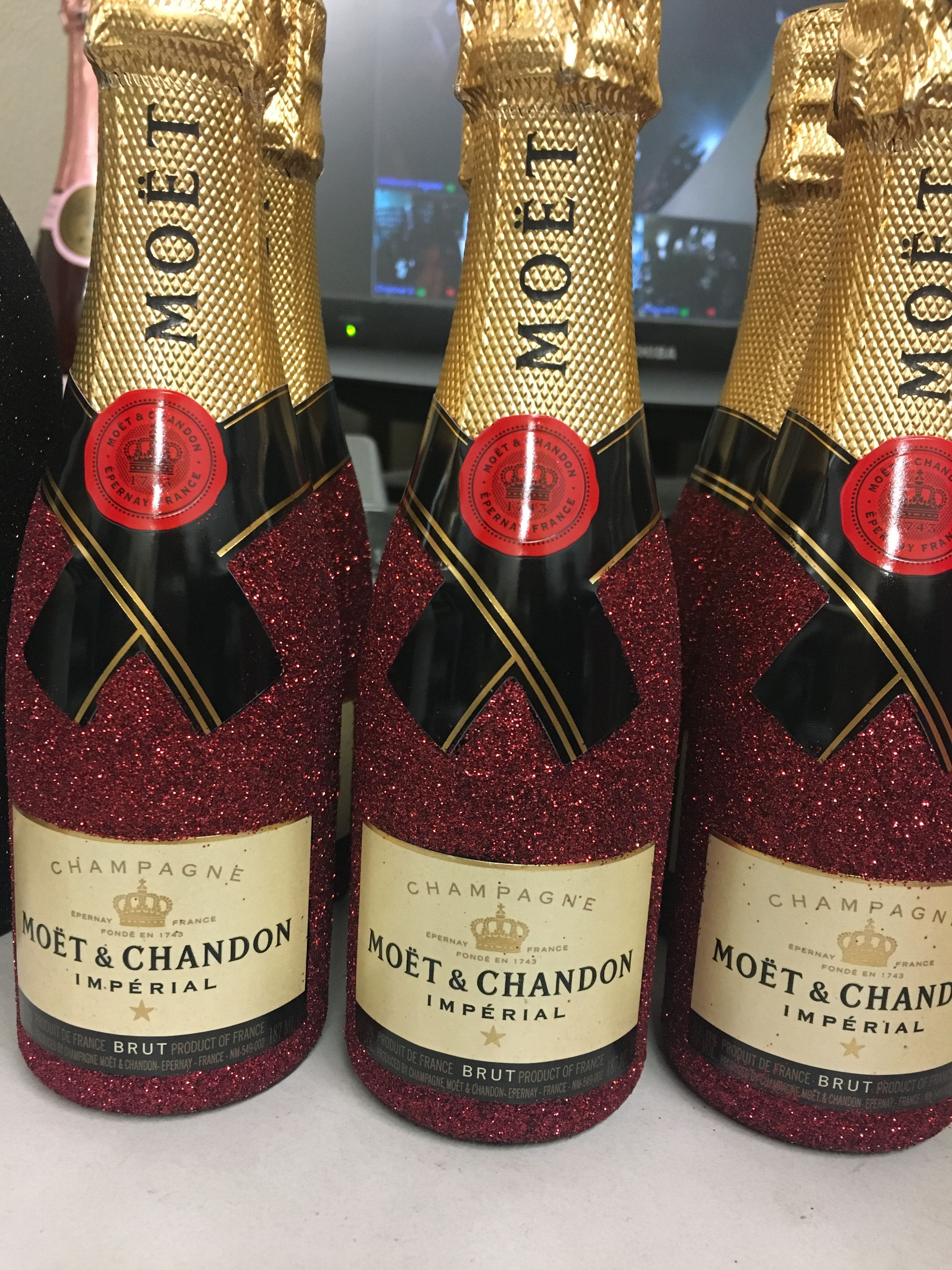 Mini 187ml Moet Imperial Brut Champagne Bottles Done In