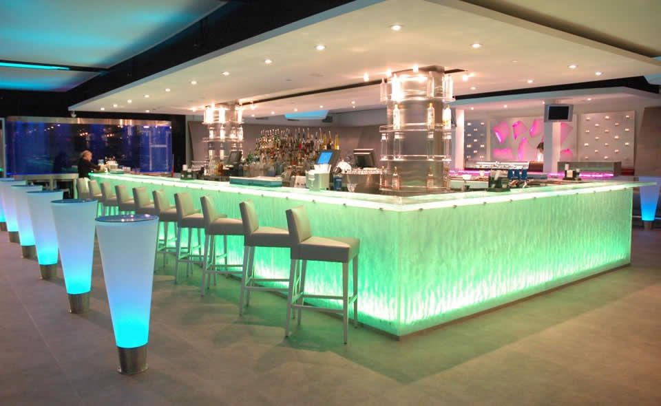 This Lit, Glass Bar Top Brings The Food Industry To Another Level With  Beautiful Colors