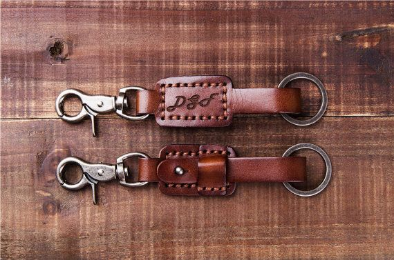 BLACK GENUINE PANTS LEATHER MENS KEYCHAIN KEY CHAIN FOB W BELT LOOPS BUCKLE CLIP