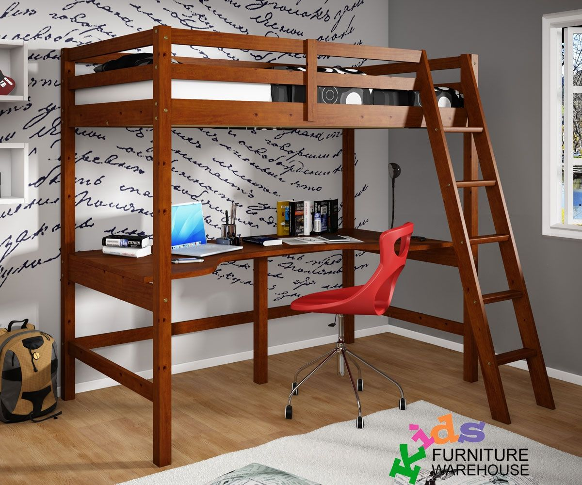 Kids loft bedroom ideas  CDonco Trading espresso loft bed with desk underneath  kids study