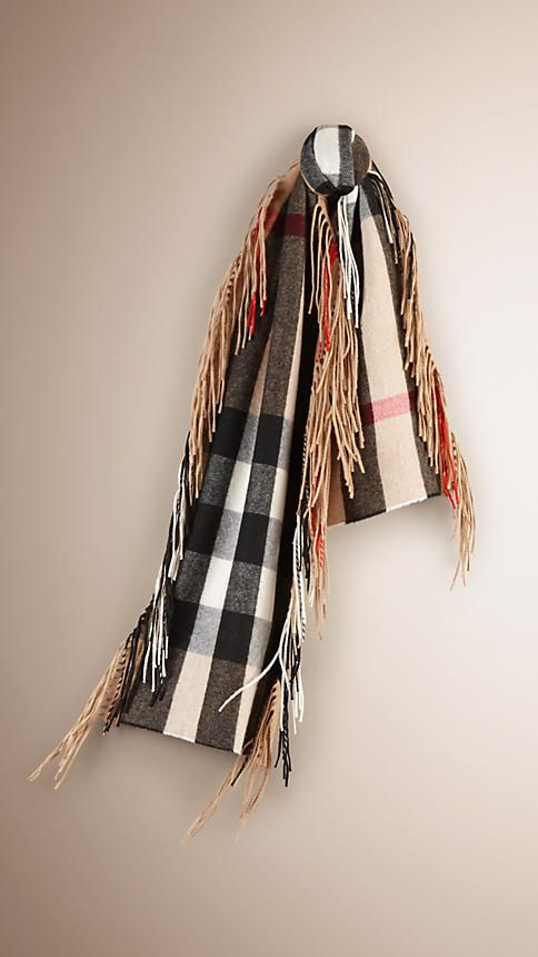 Camel The Fringe Scarf in Check Cashmere - Image 1