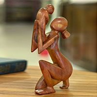 Wood sculpture, 'Moment of Tenderness' #woodcarvingtoo