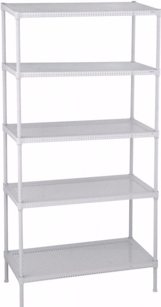 Perforated Adjustable 5 Tier Steel Rack In White Storage Shelves Organizer Rack With Images White Storage Shelf Organization Storage Shelves