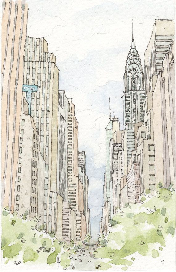 New York City Watercolor City Art New York Illustration City Drawing