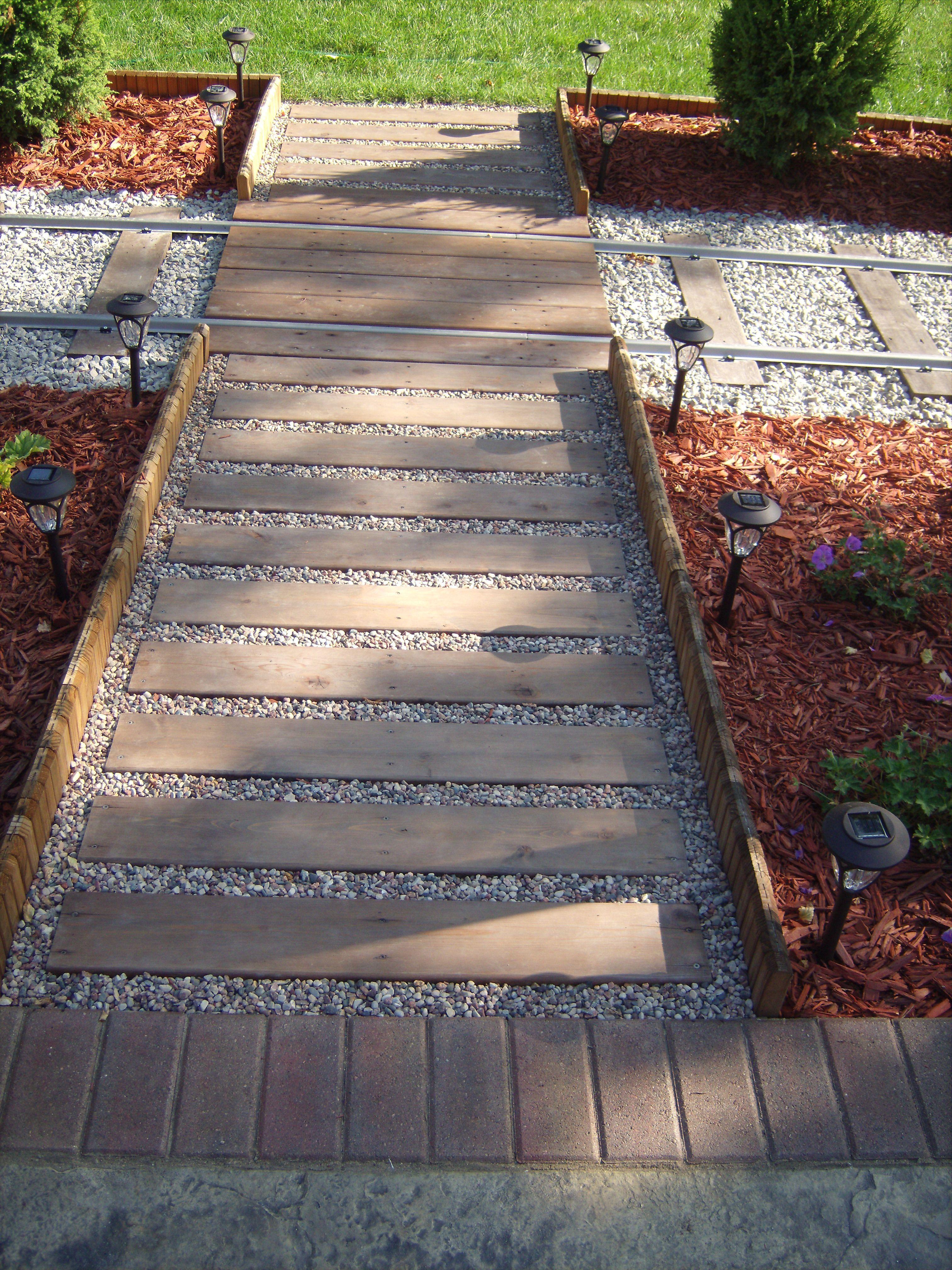 Purpose Planks Walkway : Walkway crossing tracks used cedar deck planks held