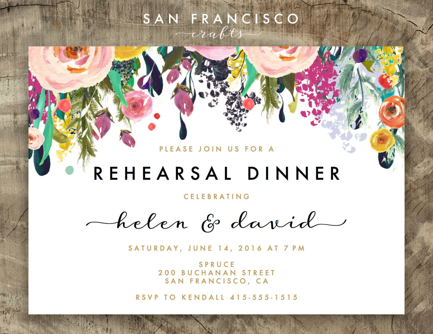 Rehearsal Dinner Invitation Engagement By Sanfranciscocrafts