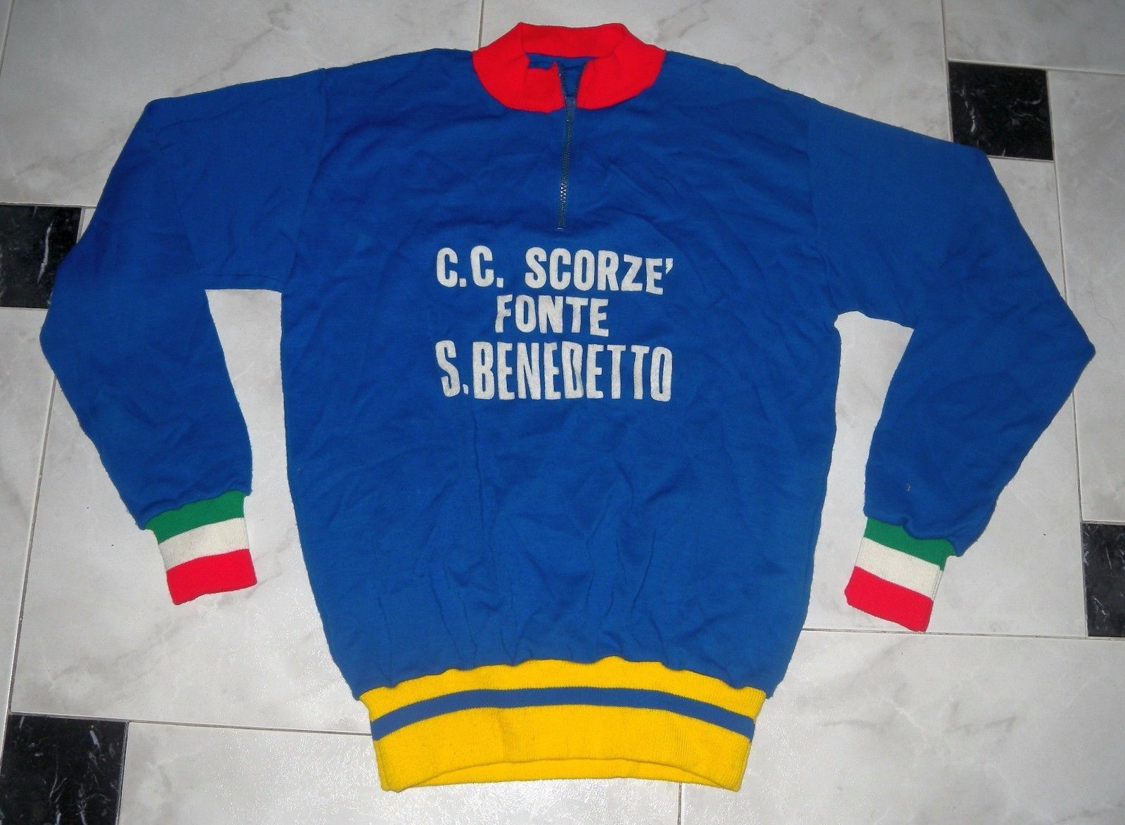 0b2aeadc3 VINTAGE WOOL 1970 MADE IN ITALY GC SAN BENEDETTO Cycling JERSEY not UCI PRO