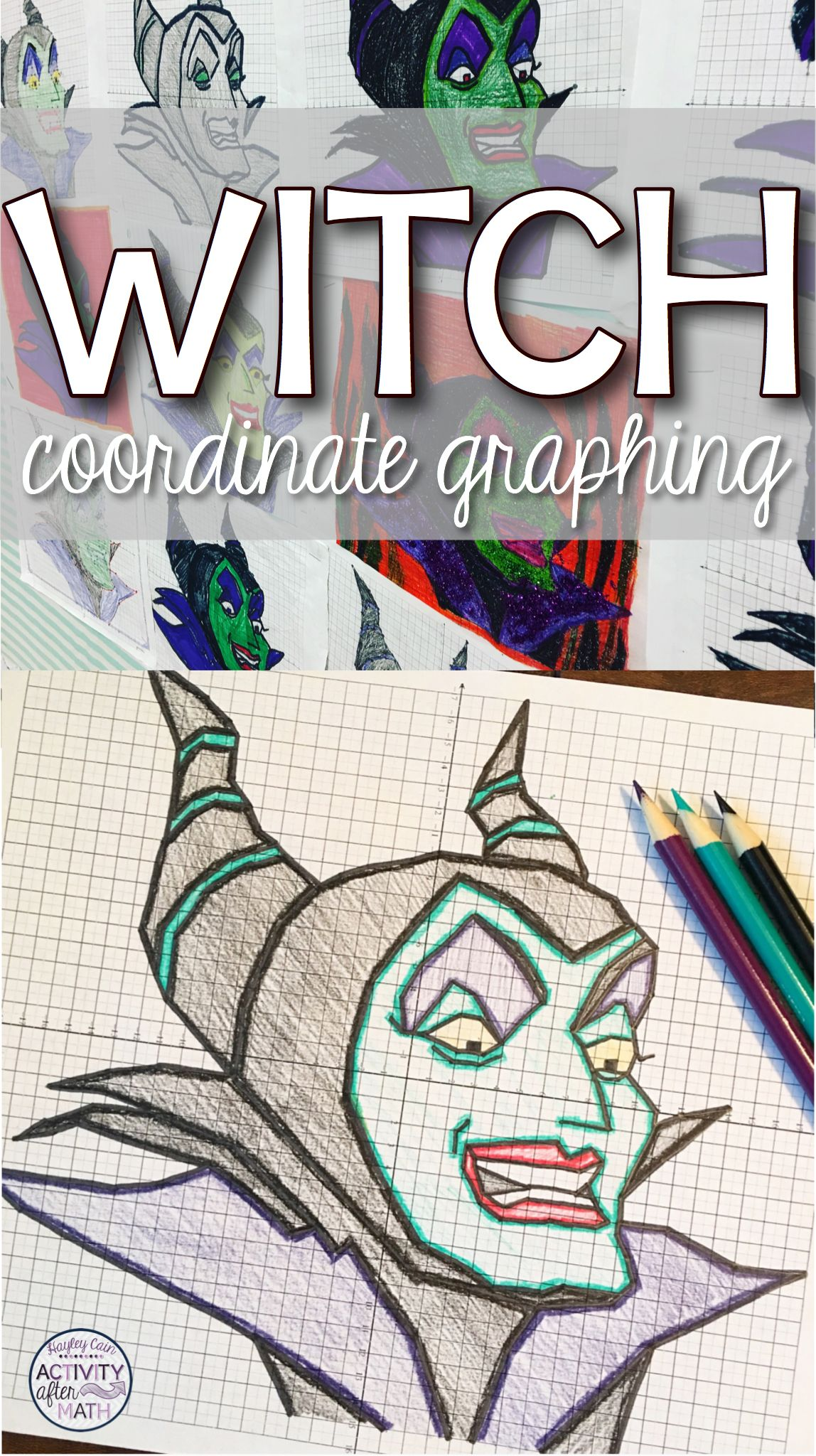 Witch Coordinate Graphing Picture Halloween Math