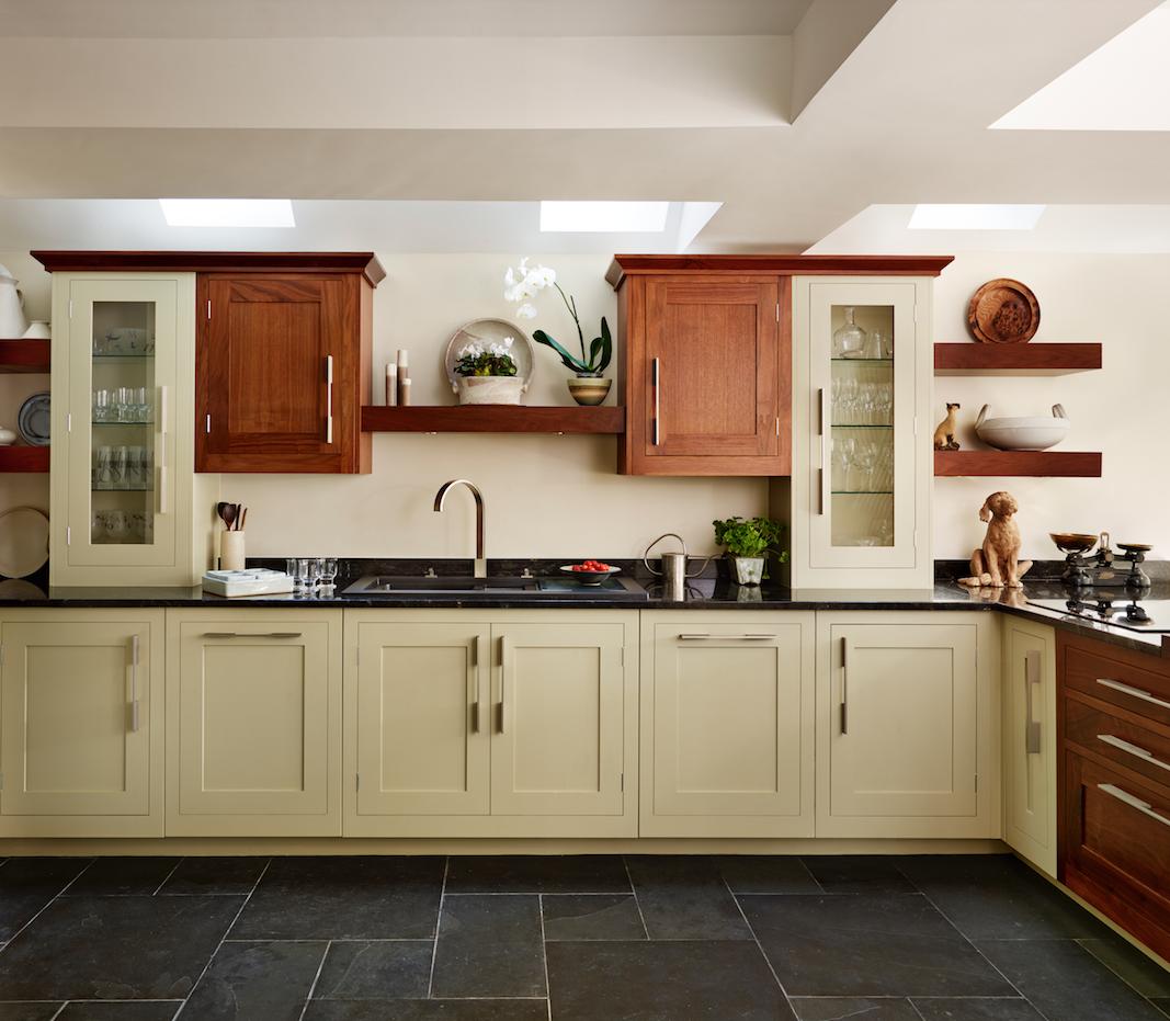 Harvey Jones Shaker Kitchen Painted In Zoffany Sage With Walnut Cupboards Walnut Cupboard Kitchen Shaker Kitchen