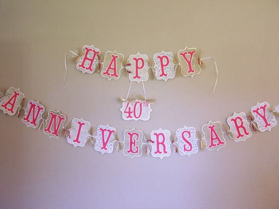 Personalized happy anniversary banner 40th by custompapermemories
