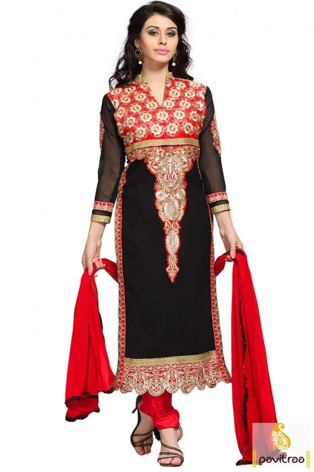 Fashions Myntra black red wedding salwar suit at lowest price ...