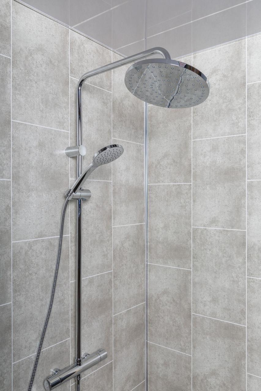 Grey Tile Effect Panel 250mm Grey Tiles Grey Bathroom Tiles Tiles