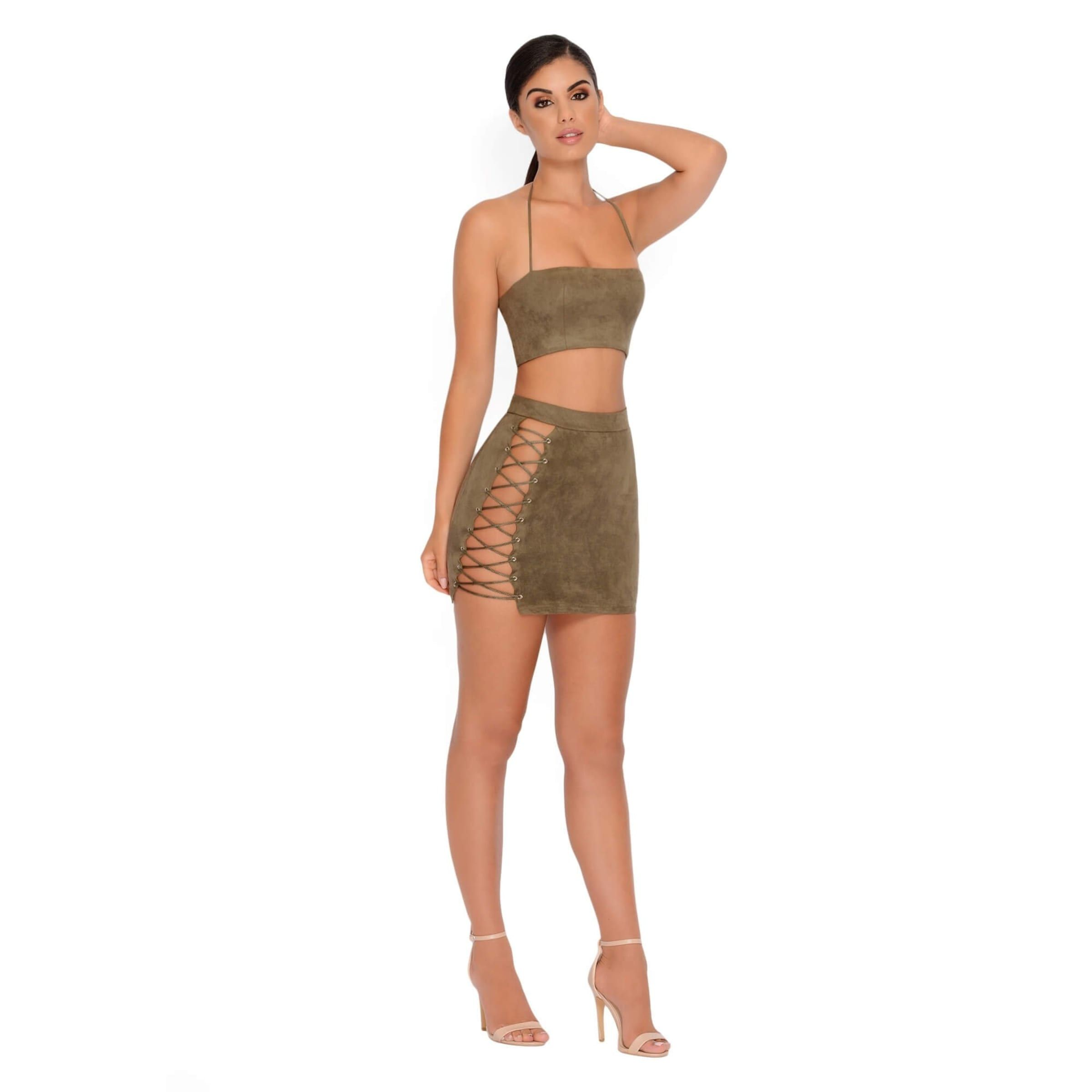 c8ed86d5cc25 Straight Laced Suede Tie Up Two Piece in Khaki Halter Neck, Tied Up, Lace