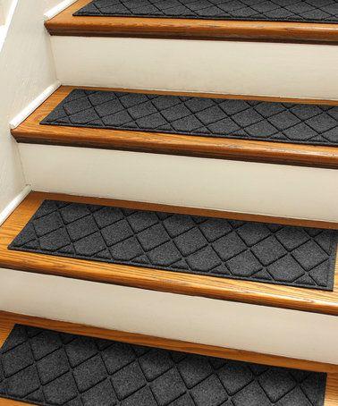 Best Loving This Charcoal Aqua Shield Argyle Stair Tread Set 400 x 300