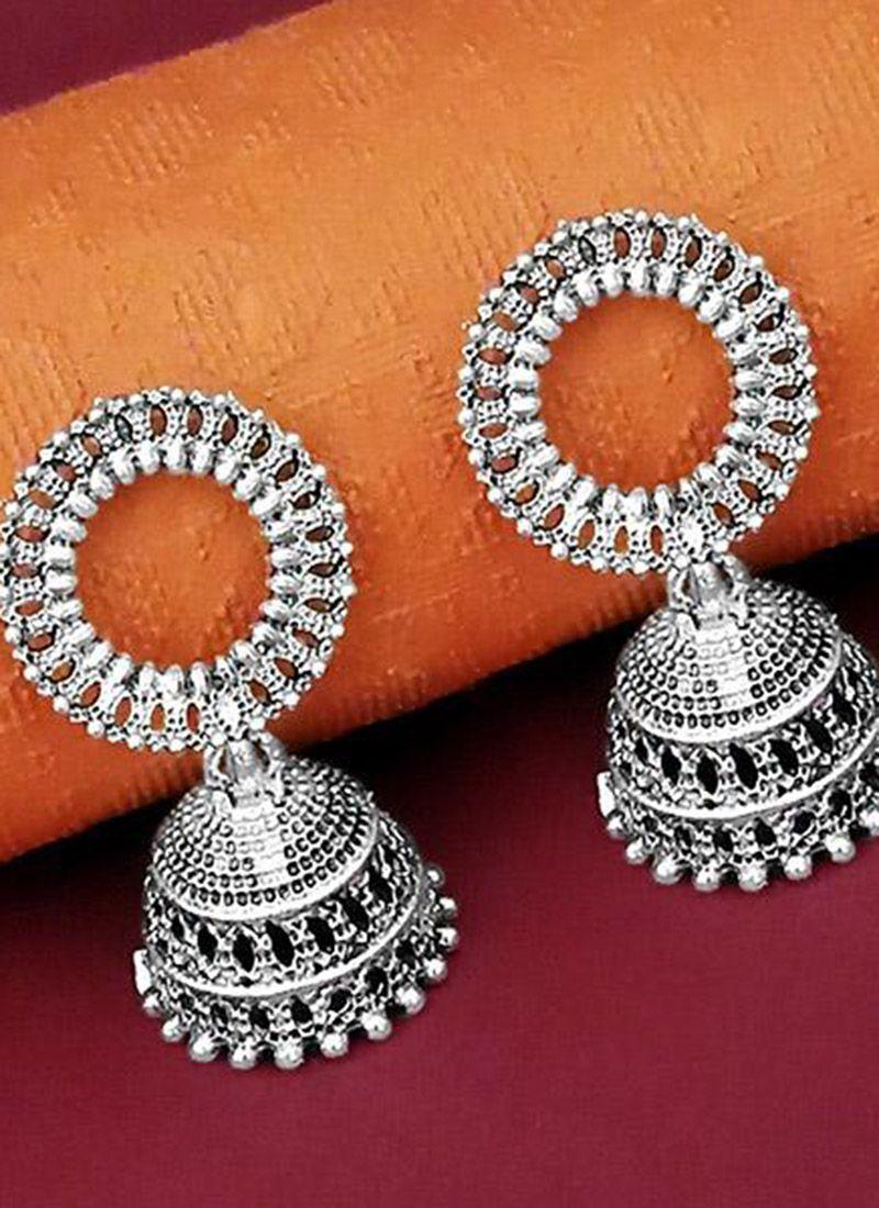 Silver Stone Work Sangeet Ear Rings Earrings collection