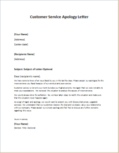 Customer Service Apology Letter DOWNLOAD at httpwriteletter2