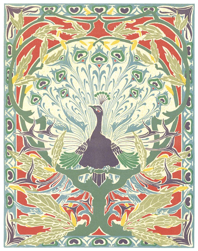 Jugendstil Kunst Art Nouveau Peacock Design Artist Unknown Diverse 3