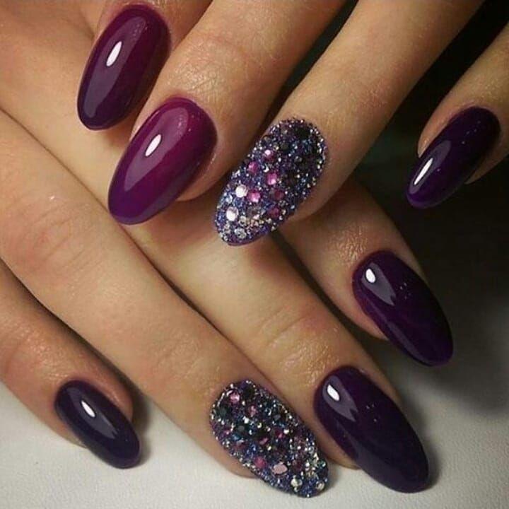 Beautiful autumn nail art design to try this autumn - deep purple on long coffin nails , autumn nails ,teal nail colors, fall nails , nail polis,acrylic nail art