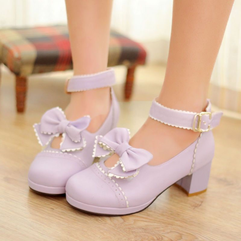 Womens Mid Heek Platform Buckle Pumps Mary Janes Bowknot Sweet Lolita Shoes Plus